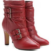 5e44b7ef5 Bota Couro Cano Curto Shoestock Fivelas - Feminino-Vermelho