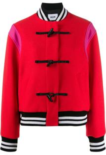 Msgm Colour-Block Toggle Bomber Jacket - Vermelho