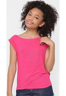 Camiseta Infantil Colcci Fun Aplicação Feminina - Feminino-Pink