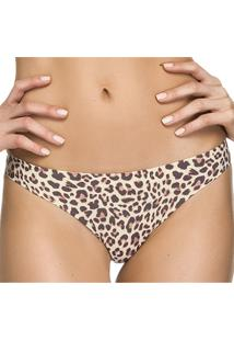 Calcinha Zee Rucci Fio Dental Laser Animal Print Estampada