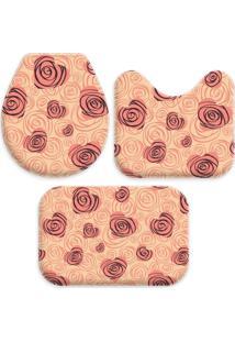 Jogo Tapetes Love Decor Para Banheiro Coração Com Flor Geometrico Salmão Único