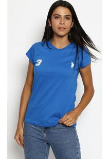 "Camiseta ""3"" Com Recortes- Azul & Brancaclub Polo Collection"