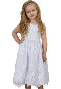Vestido Sapequinha Confecções Rendado Clássico Branco