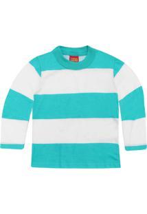 Camiseta Kyly Menina Listrado Branca/Azul