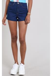Short Jeans Feminino Hot Pants Barra Dobrada Azul