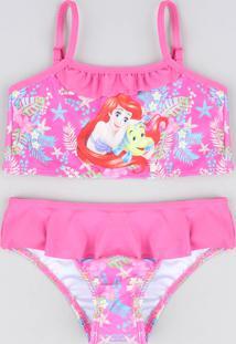 623ccbf35 Biquíni Infantil Pequena Sereia Ariel Com Babado Proteção Uv50+ Rosa