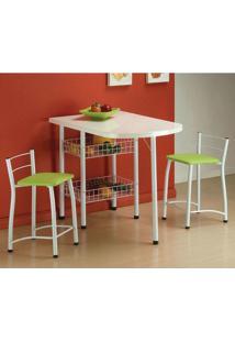 Conjunto De Mesa Com 2 Cadeiras Amanda Verde - Única