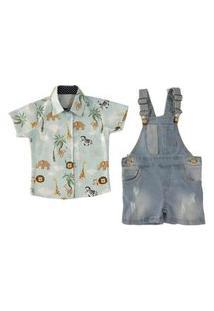 Salopete Jeans E Camisa Manga Curta Mabu Denim