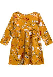 Vestido Kinha Primeiros Passos Em Cotton Outono Inverno 03 Amarelo Escuro
