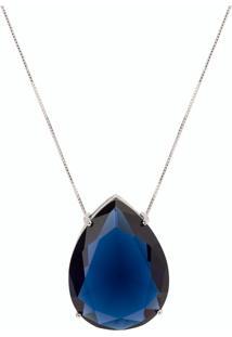 Colar Gota Maxi The Ring Boutique Pedra Cristal Azul Safira Ródio Ouro Branco - Tricae