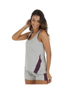 fb5db19f95 Camiseta Regata Oxer Recortes Vintage - Feminina - Cinza Cla Roxo Esc