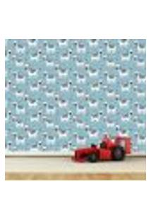 Papel De Parede Adesivo - Zebras - Infantil - Azul - 339Ppi