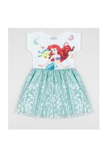Vestido Infantil Pequena Sereia Com Tule Manga Curta Verde Água