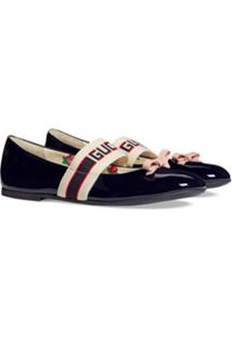 Gucci Kids Children'S Patent Leather Ballet Flat With Gucci Stripe - Azul