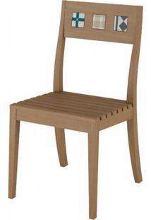 Cadeira Funchal Assento Ripado Cor Natural Com Pes Madeira - 48178 - Sun House