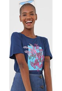 Camiseta Sommer Estampada Azul-Marinho - Kanui