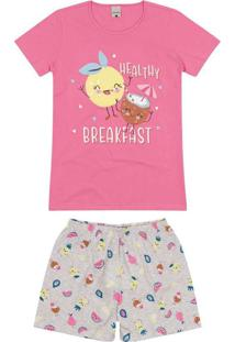 Pijama Feminino Curto Malwee 1000088379 00158-Rosa