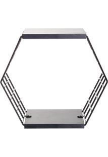 Cubo Hexagonal Com Prateleiras Decorativo- Preto- 29Metaltru