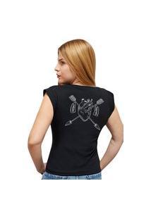 Camiseta Casual 100% Algodão Estampa Coração Avalon Cf01 Preta