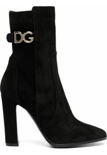 Dolce & Gabbana Bota Salto Alto Com Logo - Preto