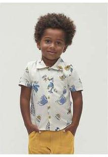 Camisa Manga Curta Menino Em Tecido De Viscose Toddler Off-White