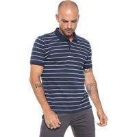 60916ba76d7 Camisa Polo Aramis Manga Curta Listras Azul Marinho  Branca