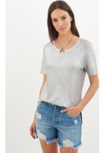 Camiseta Le Lis Blanc Luana Foil Tricot Prata Feminina (Prata, Pp)