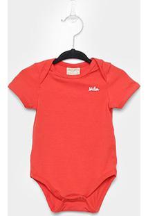 Body Infantil Milon Manga Curta Básico Bebê - Masculino-Vermelho