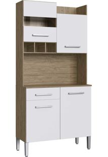 Armario Kit Cozinha 4 Portas E 1 Gaveta Wood/Branco Decibal