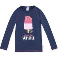 Camisa Praia Infantil Menina Manga Longa Com Estampa Hering Kids a133c7e7c0