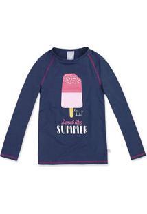Camisa Praia Infantil Menina Manga Longa Com Estampa Hering Kids 29b45470458bb
