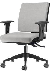 Cadeira Simple Com Braco Assento Courino Cinza Claro Base Nylon Piramidal - 54938 Sun House