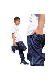 Calça Infantil Esporte Tecido Agasalho Inverno Cós De Elástico Bolso Traseiro 0376 Azul Marinho