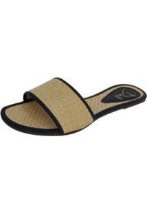 Rasteirinha Dali Shoes Slide Palha Feminina - Feminino-Bege