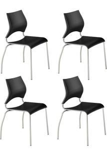 Conjunto 4 Cadeiras Tubo Cromado Assento Preto Carraro