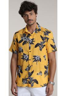 Camisa Masculina Bbb Tradicional Estampada Floral Manga Curta Amarela
