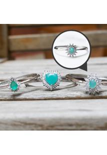 Bracelete Oval Com Cristal Turmalina Leitosa Folheado A Ródio