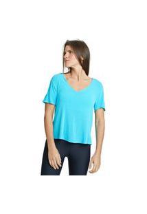 Camiseta Com Linho Básica Kaukim Azul