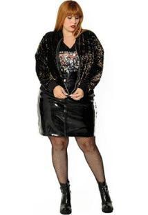 Jaqueta Plus Size Bomber De Veludo Com Paetê Feminina - Feminino