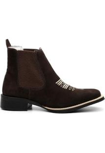 Bota Texana Valente Boots Cano Curto Elastico Masculina - Masculino-Marrom