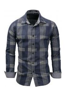 Camisa Masculina Com Linhas Quadriculadas Largas