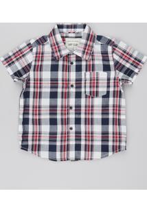 Camisa Infantil Estampada Xadrez Com Bolso Manga Curta Off White
