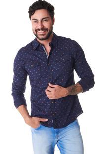 Camisa Convicto Slim Dois Bolso Azul