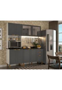 Cozinha Compacta Nevada Iv 8 Pt 3 Gv Grafite E Branca