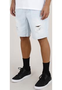 Bermuda Jeans Masculina Reta Com Bolsos Azul Claro
