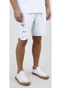 Bermuda Jeans Masculina Slim Destroyed Com Cordão E Bolsos Azul Claro
