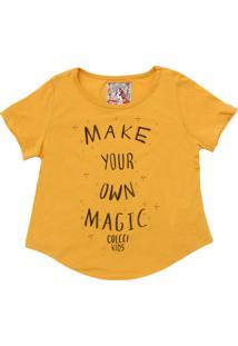 Camiseta Colcci Kids Menina Lettering Amarela