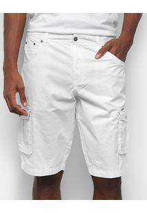 Bermuda Sarja Gajang Básica Masculina - Masculino-Branco