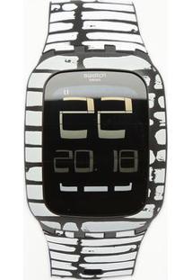 Relógio Digital Abstrato Surb120- Preto & Branco- Swswatch