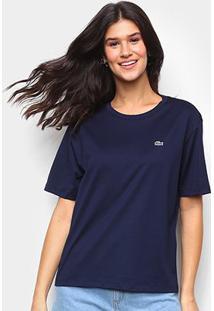 Camiseta Lacoste Boy Fit Feminina - Feminino-Marinho